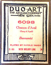 DUO-ART Buonamici Chanson d' Avril (Song of April) Bauer 6098 Player Piano Roll
