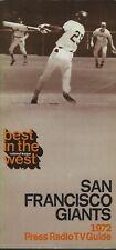 1972 San Francisco Giants Media Guide - Mays McCovey Marichal HOF 1971 NL West