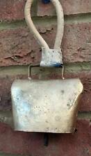 Large Gold Wind Chime Cow Bell Leather Hanging Metal Fair Trade Home Garden New