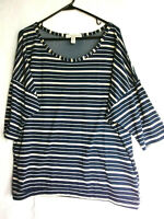 French Laundry Women's 14-16 Short  Sleeve Shirt Top Tunic Navy Blue Mesh Neck