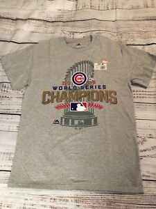 Chicago Cubs 2016 World Series Champions ~Majestic~Gray T-shirt MLB Tee~ Size S