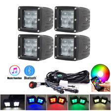 "4x 3inch 5D RGB Led Work Light 3X3"" Cube Pods Kit Strobe Bluetooth APP Control"