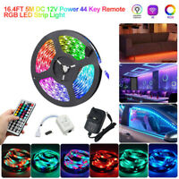 16.4FT 5M RGB LED Strip Light 3528 SMD 44 Key Remote 12V DC Power Full Kit lamp