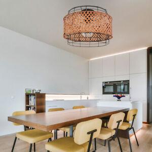RETRO Decken Strahler Leuchte Ess Zimmer Beleuchtung Käfig Bambus Lampe schwarz