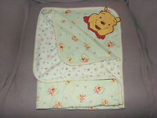 DISNEY WINNIE THE POOH BABY BLANKET GREEN WHITE PLAID GINGHAM A BUSY BEE SNAIL
