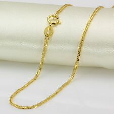 Pure Solid 18k Yellow Gold Necklace Women Men Luck Wheat Chain Necklace 50cmL