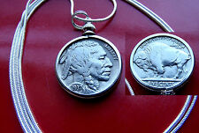 """Special Full Horn 1937 NICER Buffalo Nickel on a 30"""" 925 Silver Snake Chain"""