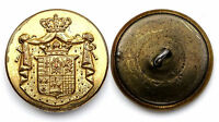 Ancien Bouton de Livrée avec Armoiries. 27 mm. Plat. Doré/ Livery button
