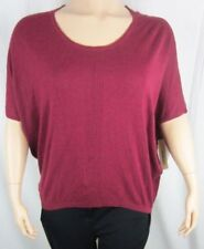 Womens NWT DKNY Short Sleeve Plum Scoop Neck Top Sweater Plus Size 2X