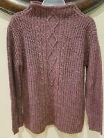 Villager Sport Wool Blend Mock Neck Purple Sweater Sz Small