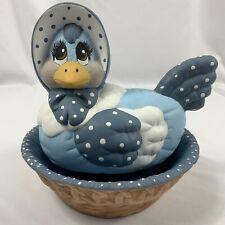 VTG Set of 2 Art Pottery Ceramic Nesting Hen With Bonnet Blue White Polka Dots