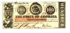 1863  $100  Milledgeville, The State of Georgia.   Civil War Issue.