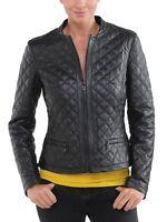 Women Black Quilted Lambskin Leather Jacket Biker Motorcycle S M L XL XXL W41