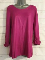 M&S Size 16 Jumper CERISE PINK Thin Knit VGC Women's Ladies 3/4 Sleeves