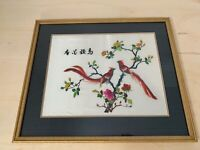 Asian Silk Art | BIRDS FLOWERS | Needlepoint | Embroidery | Stitched Wall Art 4