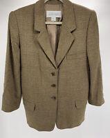 Women's Linda Allard Ellen Tracy Brown Plaid Blazer Jacket Size 8