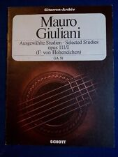 SPARTITO PER CHITARRA-GIULIANI-SELECTED STUDIES OP.111/I - EDIZ. SCHOTT