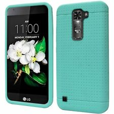 LG K7 Tribute 5 Mesh Skin Case Cover Teal +SCREEN PROTECTOR+CLOTH