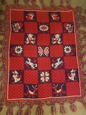 Vintage Crocheted Baby Blanket Knitted Crib throw red white and blue reversible