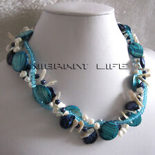 """18"""" 6-20mm White Blue Navy 3Row Freshwater Pearl Stone Shell Necklace U"""