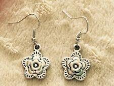 Cute Pretty New Tibetan Silver Flower Charm Dangle Drop Earrings