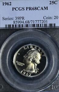 1962 Washington Silver Quarter PCGS Gem Proof PR68CAM Cameo Coin