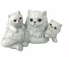 Vintage Homco #1412 White Longhair Cat With Kittens Figurine Porcelain