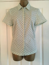 BNWT M&S Collection Mint Green & White Short Sleeved Spot Blouse Top Shirt