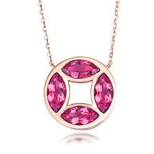 Real 14K Rose Gold Diamond 1.86 ct Natural Tourmaline Wedding Gemstone Pendant