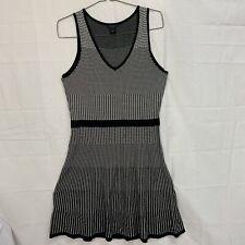 ANN TAYLOR M Knit Sleeveless Sweater Dress Gradient Black White Check Print EUC