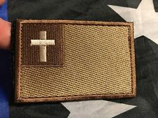 CHRISTIAN FLAG Cross of Jesus Christ Embroider Tactical Morale Hk/Lp Patch BROWN