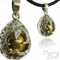 "925 SOLID Sterling Silver Flower Chime Harmony Ball Pendant New ""Bali Forever"""