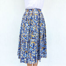 Vintage VTG 1950s 50s Mustard and Blue Sombrero and Pottery Printed Midi Skirt