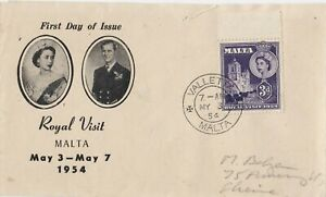 MALTA : ROYAL VISIT OF QUEEN ELIZABETH II & PRINCE PHILIP FIRST DAY COVER (1954)