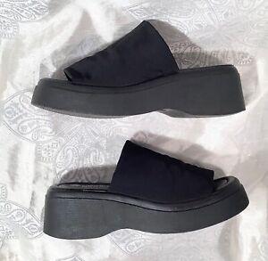 VTG 90s Lower East Side Black Stretchy Chunky Platform Slides Sandals sz 7.5