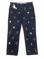 NWT Polo Ralph Lauren Chino Stretch Straight Fit Cotton Pants College Bear 34x30