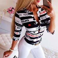 Women V-Neck Button Printing Button Long Sleeve T-Shirt Tops Blouse CHEN