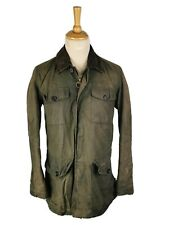 BARBOUR MENS OLIVE GREEN WAX COTTON CARRIER JACKET, SMALL