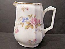 Antique Porcelain 60 oz Pitcher Pink & Blue Flowers 7 1/4 inches high L.S. & Co