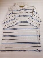 BKE (The Buckle) 67 White/Blue Striped Polo Shirt 100% cotton - Men's Large D25