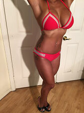 RED Bikini with see thru mesh on top and hips Size runs small S fits size XS