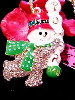 Betsey Johnson Rhinestone Green Holiday Snowman Crystal Pendant Chain Necklace