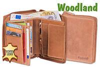 Woodland® Leder Geldbörse mit umlaufendem Reißverschluss in Hellbraun