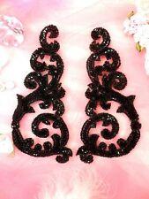 Sequin Appliques Black w/ Beaded edge Dance Costume Motif Mirror Pair (0514)