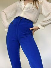 Vintage Italian Electric Blue High Waisted Leggings Trousers