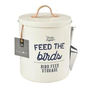 Bird Feed Storage Tin + Leather Handles + Scoop / Hamptons Coastal Home Decor