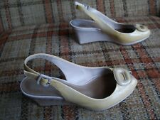 "Clarks Womens Size 7M (UK 5D) Mustard Patent Slingback Wedge Heels (3"") 85758"