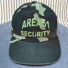 315 Vtg Area 51 Security Snapback UFO Aliens Trucker Hat CAMO GREEN Baseball Cap