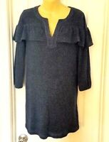 COLLECTIVE CONCEPTS Womens Dress Size Large Mini Ruffled Knit Tunic Marled New