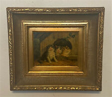 Antique Vtg Signed Gold Framed Oil on Board Wood Panel Painting - Cats, Kittens